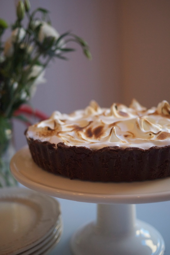 Chocolate Chestnut Meringue Pie