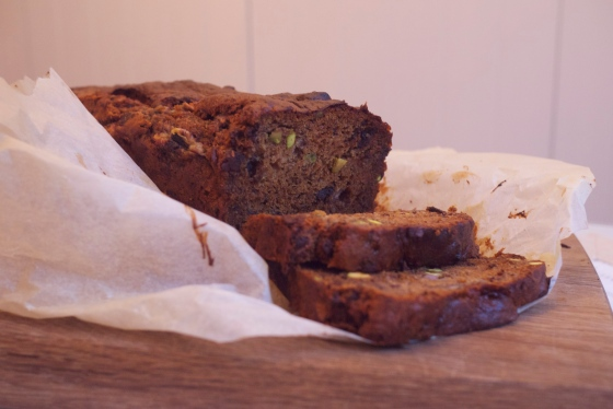 Gluten Free Banan Bread with Chocolate Chunks and Pistachios